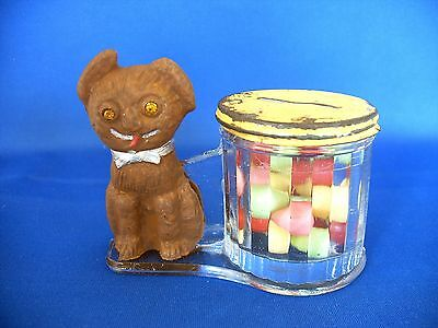 Antique  Glass & Tin Toy Bank Dog By Barrel Candy Container L.e. Smith Co. 1912