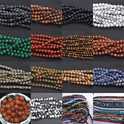 Round Loose Beads 4-10MM Jewelry Findings Crafts Natural Stone Gemstone Agate