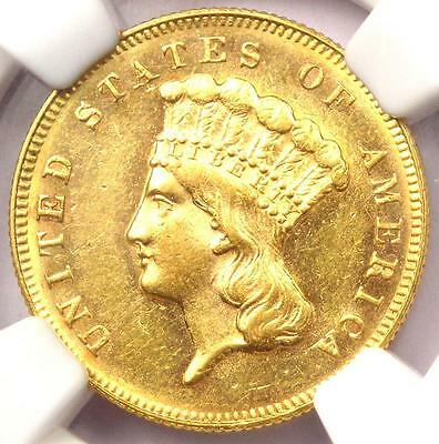 1869 Three Dollar Indian Gold Piece $3 - NGC Uncirculated (UNC MS) - Rare Date!