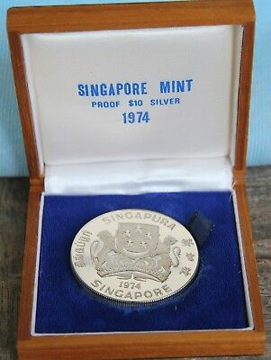 1974 Singapore Silver Proof $10 in original box - super item highly collectible