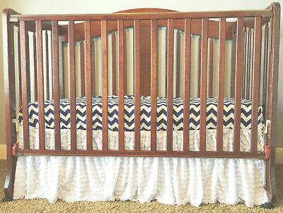 White Ruffle Crib Skirt for Baby Girl Nursery - Gorgeous Dust Ruffle Chic