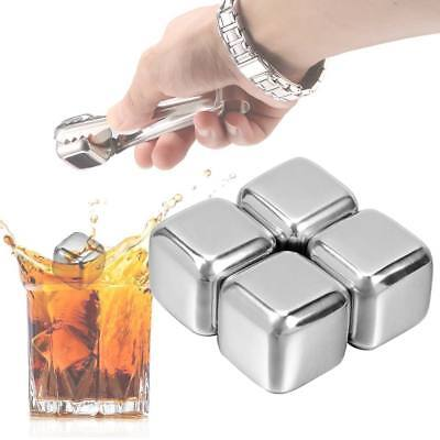 4 Pcs Stainless Steel Ice Cubes Chilling Whiskey Wine Beer Drink Cooler Stones