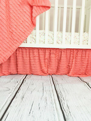 Light Coral Ruffle Crib Skirt for Baby Girl Nursery - Gorgeous Dust Ruffle Chic