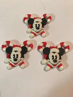 DISNEY Mickey Mouse Candy Cane Button Covers Christmas Set of 3