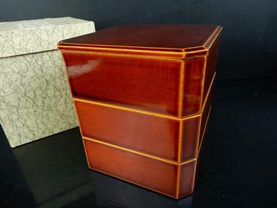 J1501:Japanese Wooden Hida Shunkei Lacquer ware FOOD BOXES Jubako Lunch Box