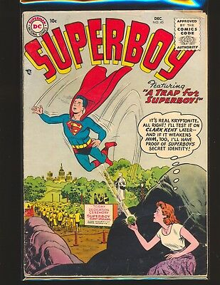 Superboy # 45 Good Cond. centerfold detached no top staple slight water damage