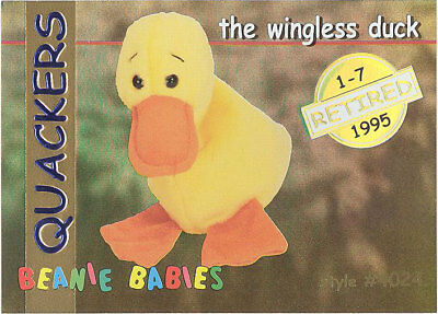 460d3336c0a TY Beanie Babies BBOC Card - Series 1 Retired (GOLD) - QUACKERS the Duck
