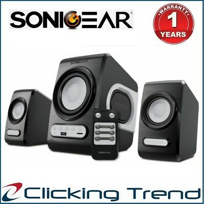 Computer PC Speaker SonicGear QuatroV USB FM Radio Subwoofer 2.1 Bluetooth Gray
