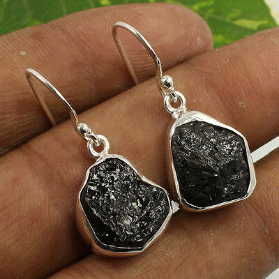 925 Sterling Silver Jewelry Earrings 1 1/8 Inches Natural BLACK TOURMALINE Gems