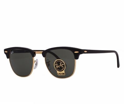 AUTHENTIC RAY-BAN CLUBMASTER SUNGLASSES Black/Gold Frame With Green Lens 51MM