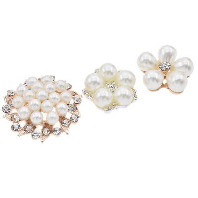 12 Pcs Gold Pearl Crystal Brooch Buttons for Wedding Bridal Bouquet DIY Craft
