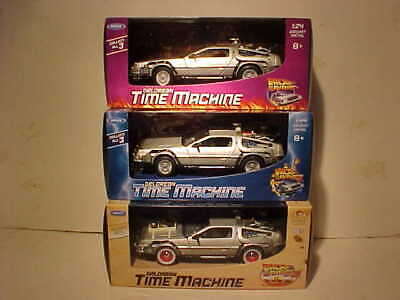 3 pack Parts 1,2,3 BACK TO THE FUTURE 1981 DeLorean Die-cast 1:24 Welly 7 inch