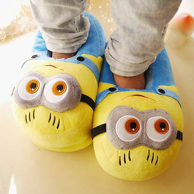 Unisex Adults Fluffy Slippers Minion 3D Eyes Cotton Soft Plush Warm Shoes Indoor