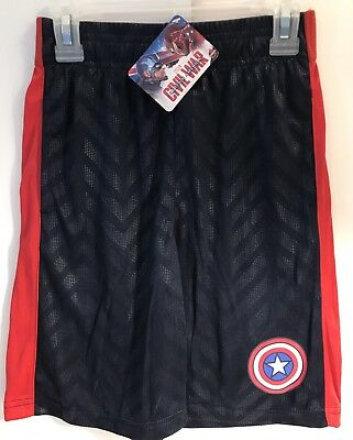 Captain America Boys S 6 / 7 Shorts - Red / Navy - Logo Waistband
