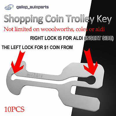 10 x Retractable Removable Shopping Coin Trolley Key ALDI WOOLWORTHS Stainless