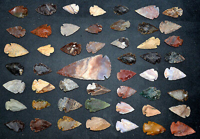 """50 PC Flint Arrowhead Ohio Collection Points 1-3"""" Spear Bow Knife Hunting Blade"""