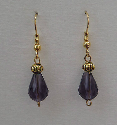 Small Faceted Violet Purple Glass Drop Earrings With Gold Plated Detail ...hook
