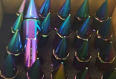 24pc Neo Chrome Spiked Wheel Lug Nuts 12x1.5 Tuner High Quality Aluminum