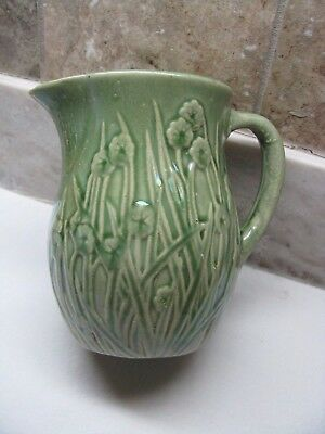 """Gorgeous """"the Boys Popular Store"""" Pitcher - 5 5/8"""" Tall Green Pitcher-Denison Ia"""