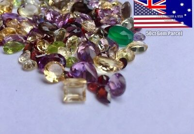 50+ cts Natural Loose Mix Gemstone Lot, Mixed Faceted Gems Bulk Wholesale