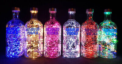 Absolut Vodka - Flaschen Lampe mit 80 LEDs Farbauswahl Upcycling Geschenk Idee