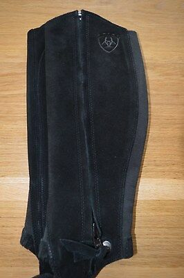 Ariat Black  Suede Elasticated Half Chaps X/Small.