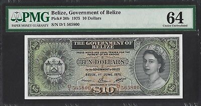 Belize P-36b 1975 PMG Choice UNC 64 $10 Dollars