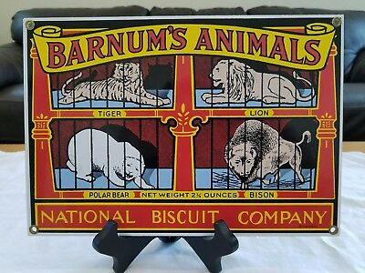 Animal Crackers Barnum and Bailey Enamel Advertising Sign By Ande Rooney w/stand