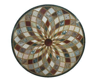 """Round Handmade 48"""" Indian Multi Stone Unique Inlay Floral Marble Table Top US5MT"""