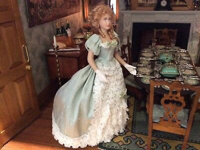 Dolls house miniature 1:12 OOAK Artisan made lady porcelain doll figure