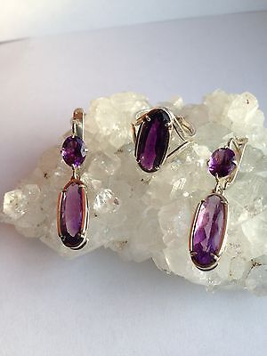 Amethyst 925 silver earrings and ring set