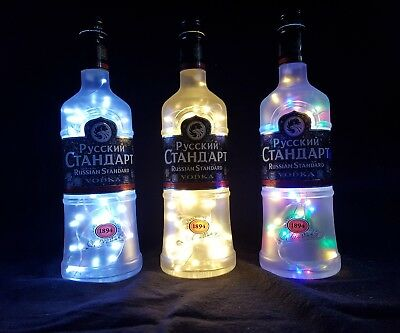 Russian Standard Flaschen Lampe mit 80 LEDs Farbauswahl Upcycling Geschenk Idee