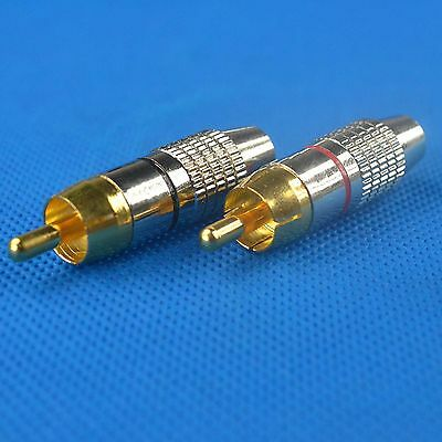 5 pair RCA Male Plug Solder Free Gold Audio Video Adapter Connector