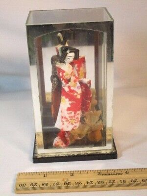 Small Vintage Japanese Geisha Girl Doll In Shadow Box Japan Antique Unique Doll
