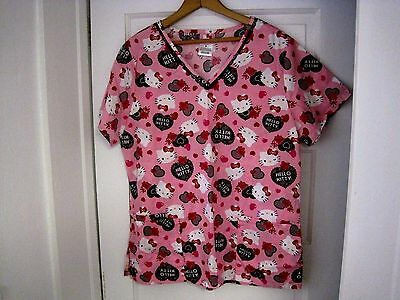 Sanrio HELLO KITTY Pink V Neck Nurse Scrub Top Size M-FAST SHIPPING!!!