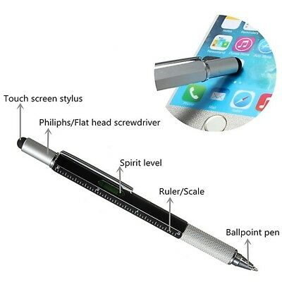 PEN SCREWDRIVER SPIRIT LEVEL RULER MULTI TOOL STYLUS GADGET 6 in 1 GIFT MENS HQ