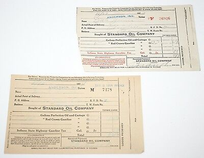 Antique 1920's Lot of Two (2) Standard Oil Company Anderson Indiana Gas Receipts