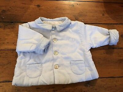 Baby Dior Pram Jacket Pale  Blue With Gingham Detail 3 Months.