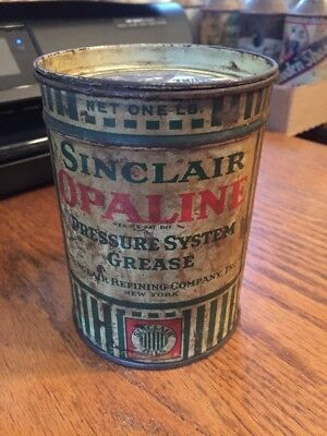 1930's Sinclair Opaline Pressure System Grease Can- 1 LB