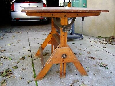Antique DRAFTING TABLE, adjustable, appears to be Hamilton circa 1920