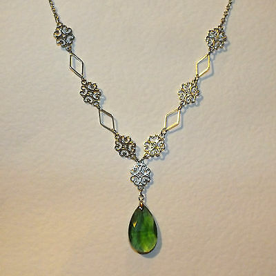 Lacy Filigree Victorian Style Green Glass Crystal Dark Silver Pl Necklace