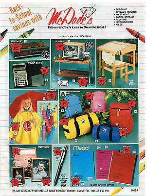 Vintage Late Summer 1986 McDADE & CO. Supplemental Catalog BACK TO SCHOOL Cover