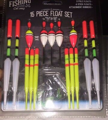 15Pcs Fishing Assorted Float Set Selection Kit
