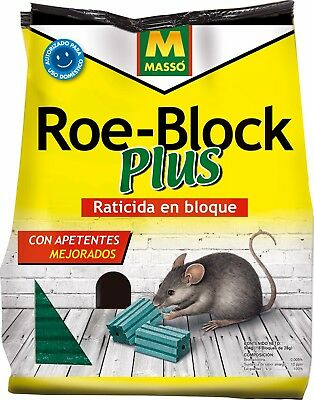 RATICIDA RATAS RATONES ROE BLOCK PLUS 500 g MASSO
