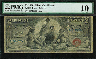 "1896 $2 Silver Certificate FR-248 - ""Educational"" - PMG 10 - Very Good"