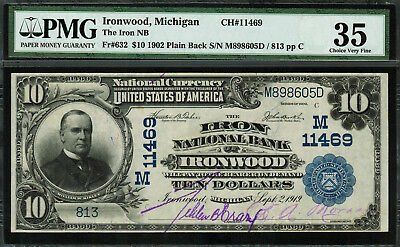 1902 $10 National Bank Note - Ironwood, MI - FR.632 Charter 11469 - PMG 35