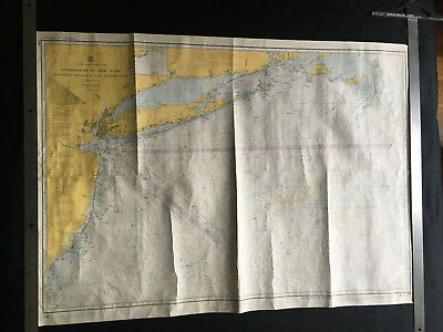 1972 VINTAGE NAUTICAL CHART MAP NEW YORK NANTUCKET SHOALS to FIVE FATHOM BANK