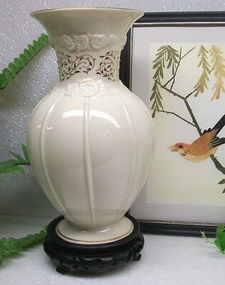"Lenox Ivory China Floral Embossed ROSE BROCADE  9"" Decorative Flower Vase U.S.A."