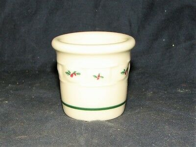 Longaberger Pottery Traditional Holly Christmas Toothpick Holder