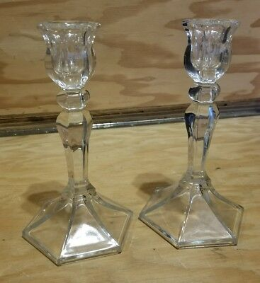 Lead Crystal Candle Stick Holders 7.5 inches tall